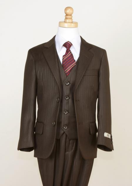 SKU#H7JK Boys 5 Piece Shining Stripe Suit - Notch Lapel and Flat Front Pants Brown $125