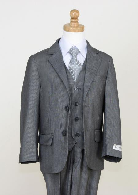 SKU#A99D Boys 5 Piece Fine Pinstripe Suit - Notch Lapel and Flat Front Pants (Charcoal) $125