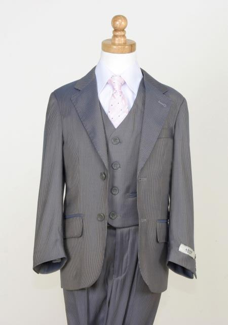 MensUSA.com Boys 5 Piece Classic Twill Suit Notch Lapel and Flat Front Pants Gray(Exchange only policy) at Sears.com