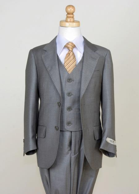 MensUSA.com Boys 5 Piece Classic Solid Suit Notch Lapel and Flat Front Pants Gray(Exchange only policy) at Sears.com