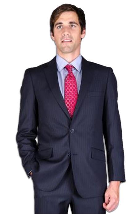 Mens Slim Fit Dark Navy Blue Suit For Men Stripe ~ Pinstripe 2-Button Suit