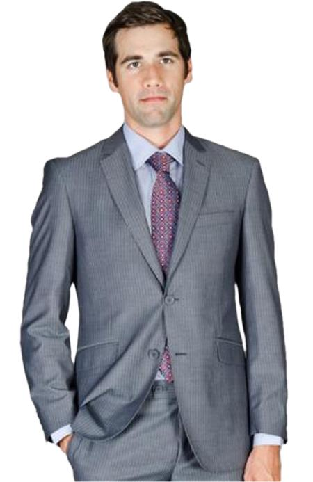 SKU#HBT6 Mens Slim Fit Grey Stripe Wool and Silk Blend Suit $175