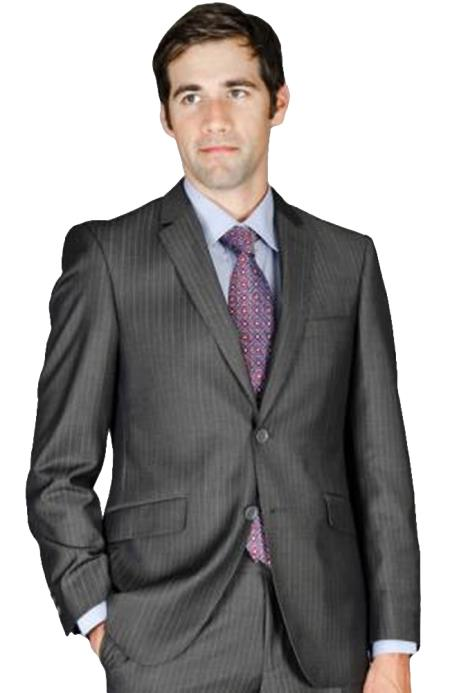 SKU#AL88 Mens Slim Fit Charcoal Stripe Wool and Silk Blend Suit $175
