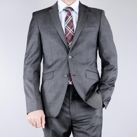 SKU#E333 Mantoni Mens Slim Fit patterned Black 2-button Wool Notch Lapel Single Breasted Suit