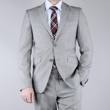 SKU#G5R5 Mantoni Mens Slim Fit Birdseye Grey 2-Button Wool Suit $175