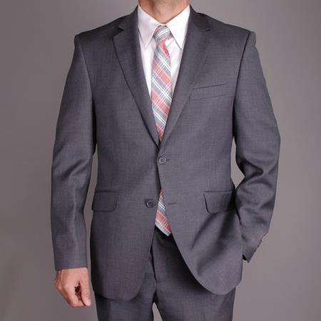 SKU#AK41 Mantoni Mens Charcoal Gray Wool Slim-fit 2-Button Suit $175