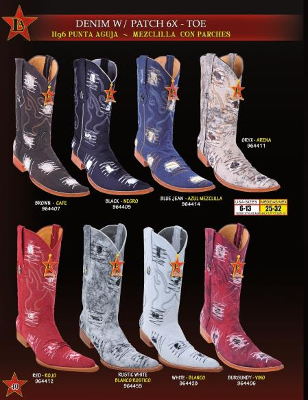 SKU#KXE3 Los Altos Mens 6X Extreme Toe Denim Patches Cowboy Western Boots Diff. Colors $189