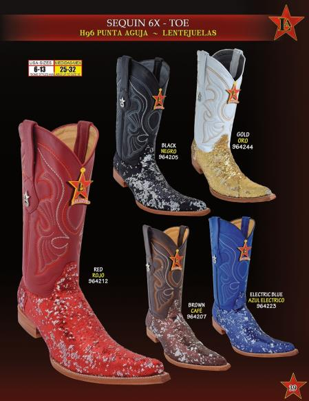 Los Altos Men's 6X Extreme Toe Sequin Leather Cowboy Western Boots Diff. Colors coupons 2016