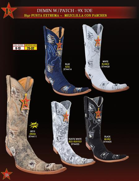 SKU#J222 Los Altos botas tribaleras Mens 9X Extreme Toe Denim w/ Patches Cowboy Western Boots Diff.Colors