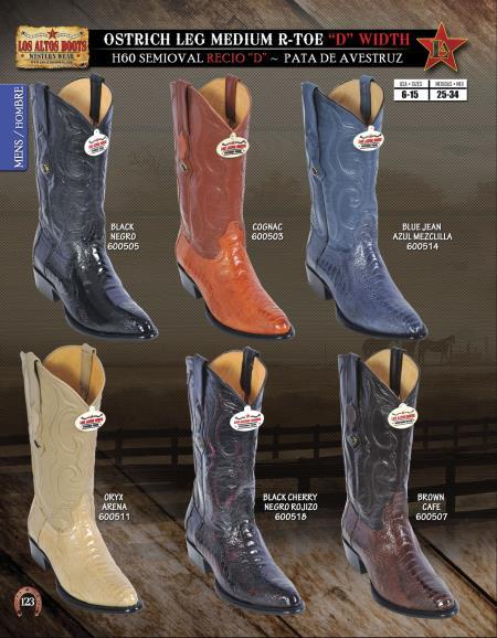 "SKU#1Q22 Los Altos R-Toe Ostrich Leg ""D"" Width Mens Western Cowboy Boot Diff.Color/Size $198"