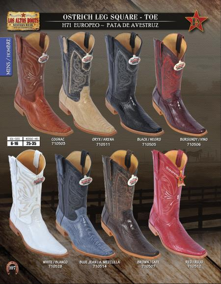 SKU#3VC2 Los Altos Square-Toe Ostrich Leg Mens Western Cowboy Boots Diff. Colors/Sizes