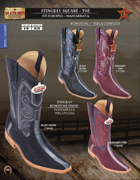 SKU#A2X2 Los Altos Square-Toe Stingray Mens Western Cowboy Boots Diff.Colors/Sizes