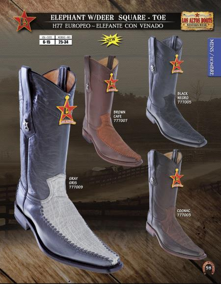 SKU#4D3U Los Altos Square-Toe Elephant W/ Deer Mens Western Cowboy Boot Diff.Colors/Sizes $369