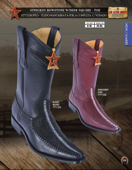 SKU#A2PP Los Altos Square-Toe Stingray W/Deer Mens Western Cowboy Boot Diff.Colors/Sizes $369
