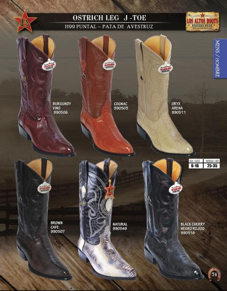 SKU#7U75 Los Altos J-Toe Genuine Ostrich Leg Mens Western Cowboy Boots Diff. Colors/Sizes