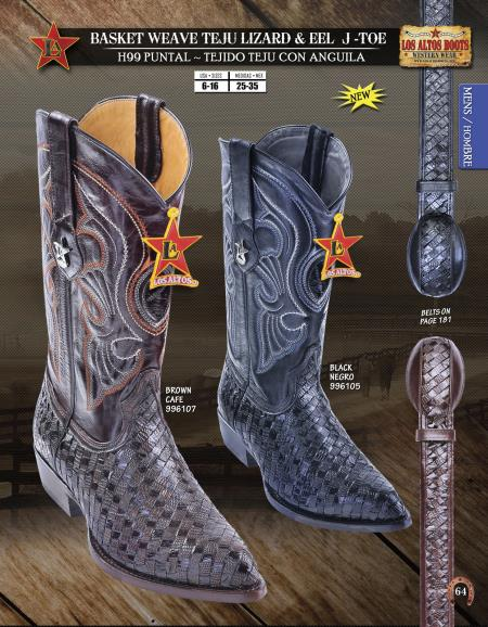 SKU#7UN7 Los Altos J-Toe Lizard & Eel Mens Western Cowboy Boots Diff. Colors/Sizes $269