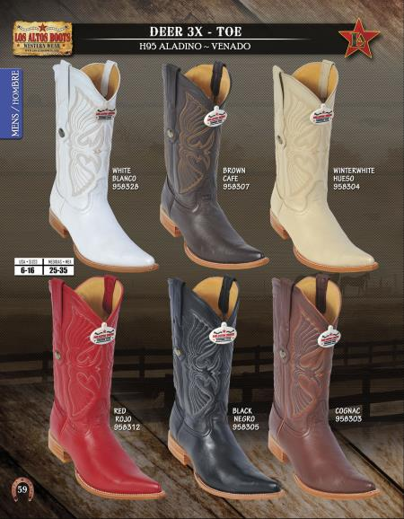 SKU#4EC5 Los Altos XXX-Toe Genuine Deer Mens Western Cowboy Boots Diff. Colors/Sizes