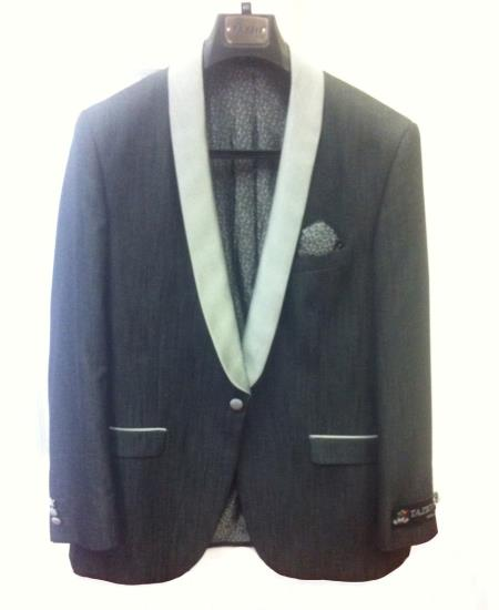 SKU#P2S Mens One Button Slim Fit Tuxedo Jacket Black