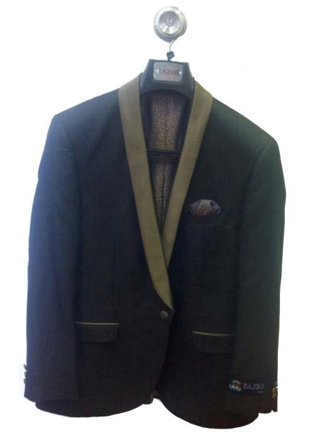 SKU#W3D3 Mens One Button Slim Fit Tuxedo Jacket Black with Tan Lapel $125