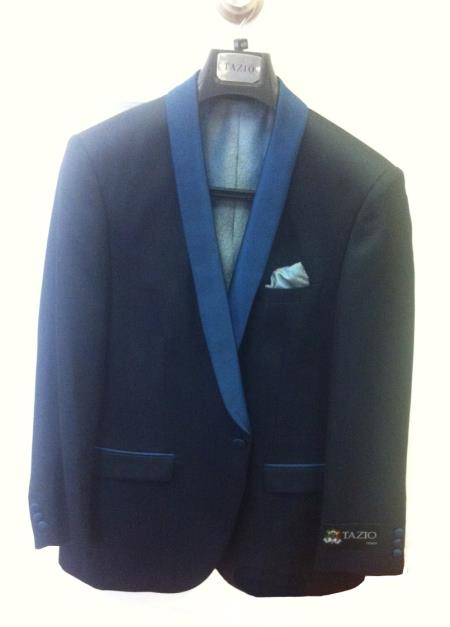 SKU#X5T5 Mens One Button Slim Fit Tuxedo Jacket Black with Royal Blue Lapel $125