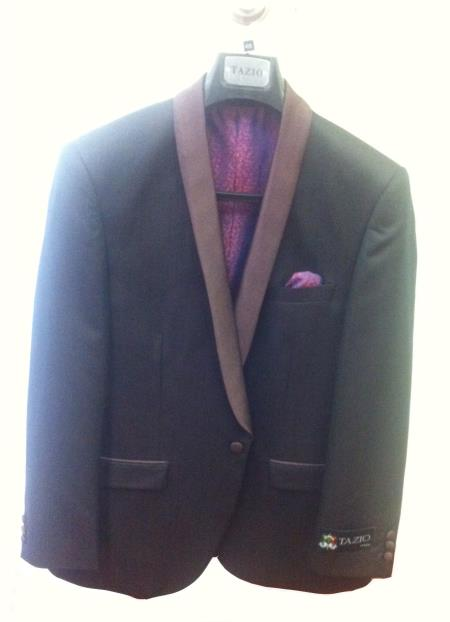 SKU#U87J Blazer Coat Mens One Button Slim Fit Tuxedo Jacket Black with Brown Lapel