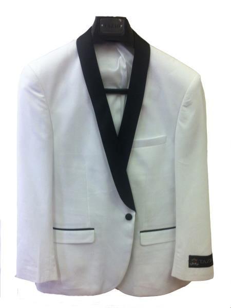 SKU#7Z3C Mens One Button Slim Fit Tuxedo Jacket White with Black Lapel $125