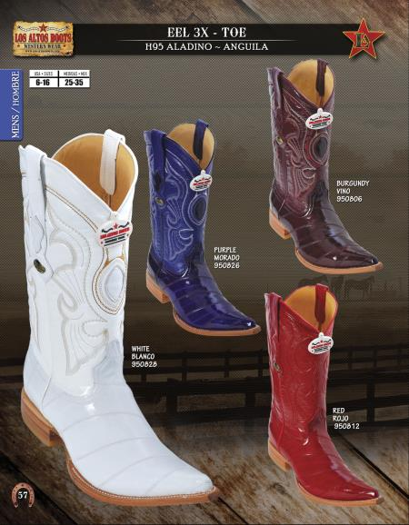 SKU#4XX3 Los Altos XXX-Toe Genuine Eel Mens Western Cowboy Boots Diff. Colors/Sizes