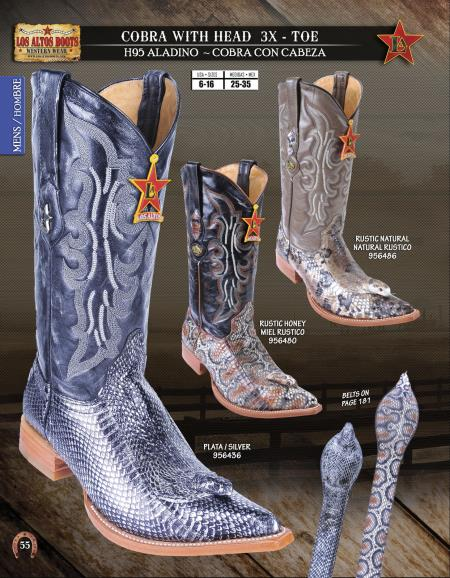 SKU#01SS Los Altos XXX-Toe Genuine Cobra W/Head Mens Western Cowboy Boot Diff. Color/Size $208