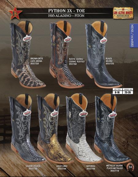 SKU#1DF2 Los Altos XXX-Toe Genuine Python ~ Snake Mens Western Cowboy Boots Diff. Colors/Sizes
