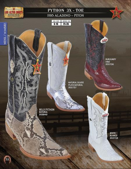 SKU#4T5U Los Altos XXX-Toe Genuine Python ~ Snake Men's Western Cowboy Boots Diff. Colors/Sizes