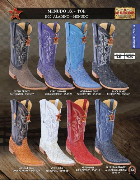 SKU#6GG6 Los Altos XXX-Toe Genuine Menudo Mens Western Cowboy Boots Diff. Colors/Sizes
