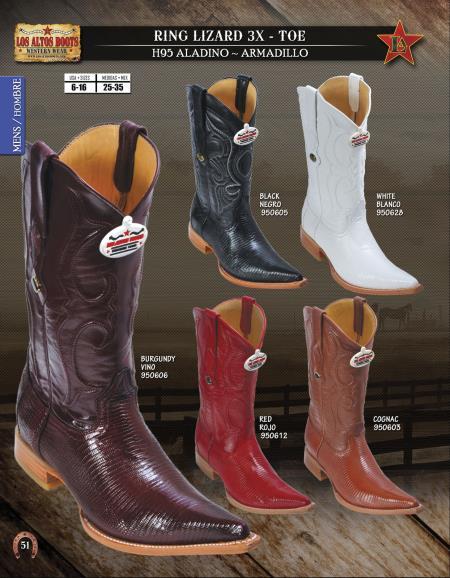 SKU#8UC2 Los Altos XXX-Toe Genuine Ring Lizard Mens Western Cowboy Boot Diff.Colors/Sizes $208