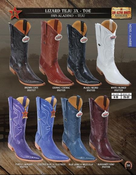 SKU#22QQ Los Altos XXX-Toe Genuine Lizard Teju Mens Western Cowboy Boot Diff.Colors/Sizes $228