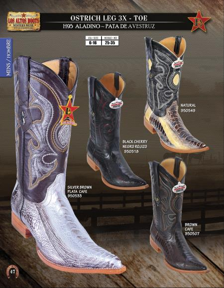 SKU#16SW Los Altos XXX-Toe Genuine Ostrich Leg Mens Western Cowboy Boot Diff.Colors/Sizes $228
