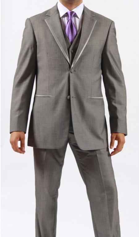 SKU#MO9S Two Button Grey ~ Gray Manhattan Tuxedo
