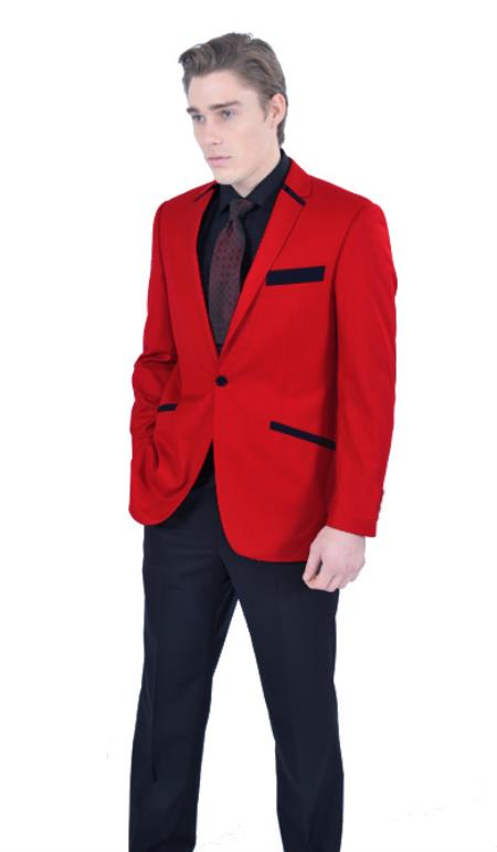 SKU#X1C1 Mens 1 Button Red Hot Party Tuxedo $199