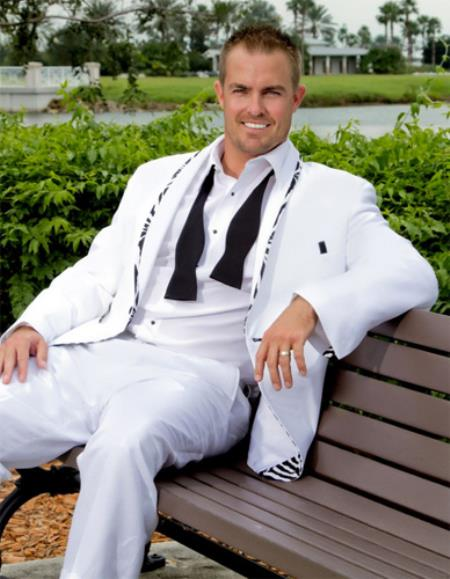 MensUSA.com 1 Button Rock A Tux b Inspired White with Zebra Print Tuxedo(Exchange only policy) at Sears.com