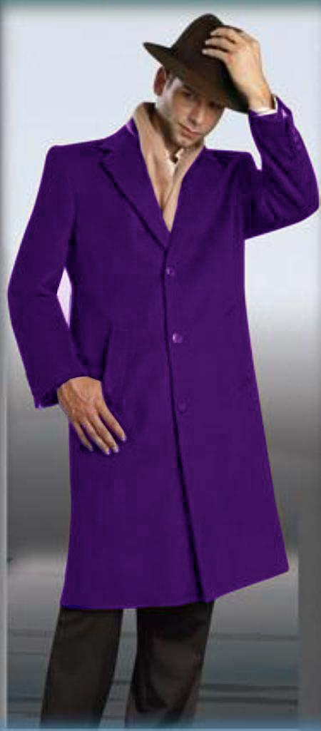 MensUSA Purple Overcoat 45 Single Breasted 3 Button Style Wool and Cashmere at Sears.com