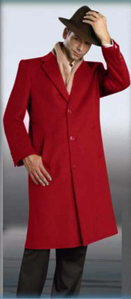 MensUSA.com Red Overcoat 45 Single Breasted 3 Button Style Wool and Cashmere(Exchange only policy) at Sears.com