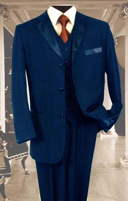 SKU#E45C Mens 3PC Navy Blue Tuxedo 3 Button Super 150s Wool Extra Fine Hand Made $450