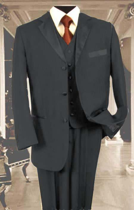 SKU#NQS82 Mens 3PC Charcoal Gray Tuxedo 3 Button Super 150s Wool Extra Fine Hand Made $450