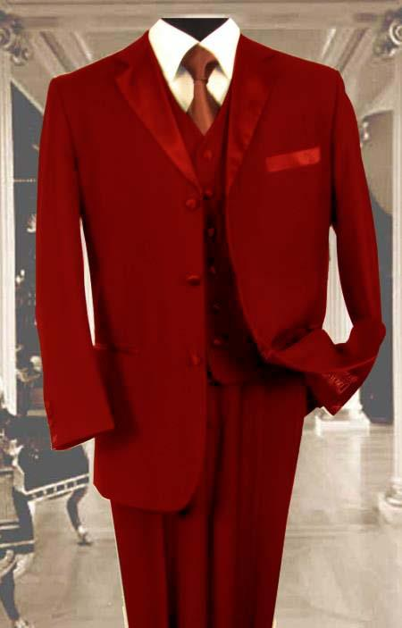 SKU#8UHB Mens 3PC Red Tuxedo 3 Button Super 150s Wool Extra Fine Hand Made $450