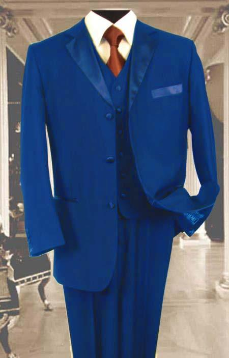 SKU#H7KJ Mens 3PC Royal Blue  Tuxedo 3 Button Super 150s Wool Extra Fine Hand Made $450