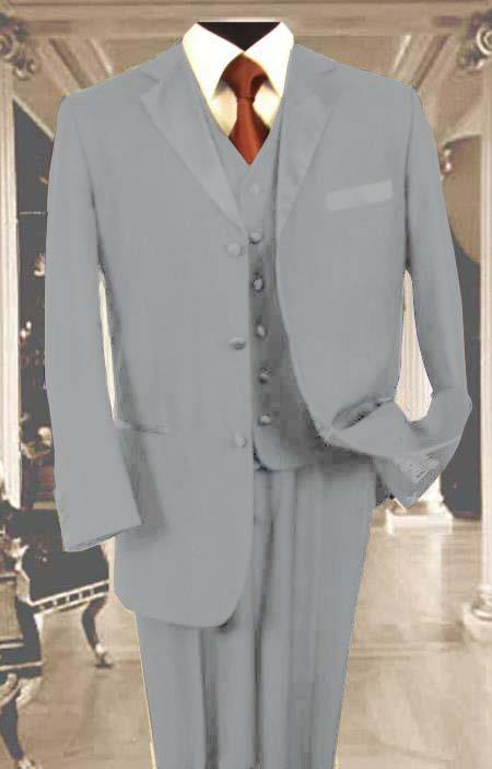 SKU#Q24V Mens 3PC Light Gray Tuxedo 3 Button Super 150s Wool Extra Fine Hand Made $450