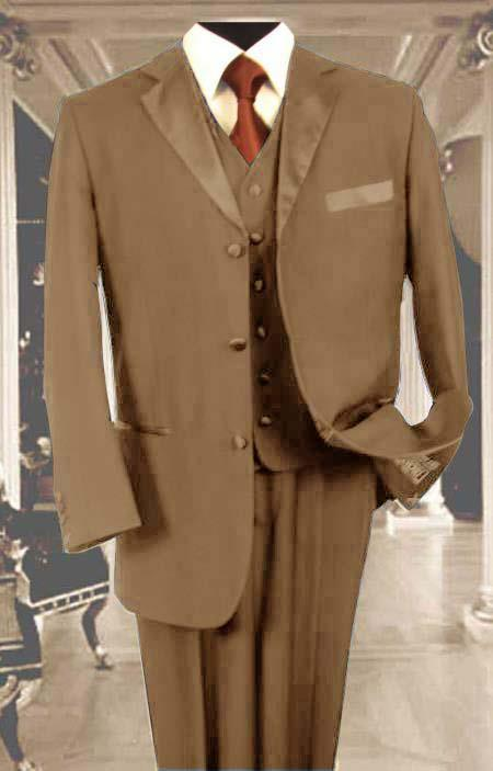 SKU#6YV7 Mens 3PC Tan Tuxedo 3 Button Super 150s Wool Extra Fine Hand Made $450