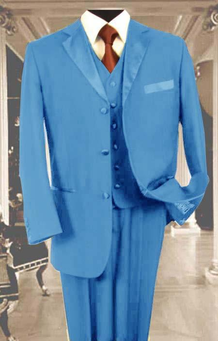 SKU#R50C Mens 3PC Blue Tuxedo 3 Button Super 150s Wool Extra Fine Hand Made $450