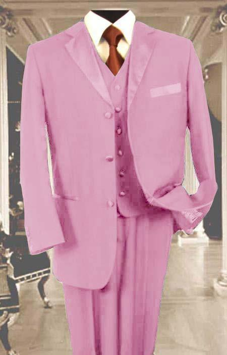 SKU#PK76 Mens 3PC Pink Tuxedo 3 Button Super 150s Wool Extra Fine Hand Made $450