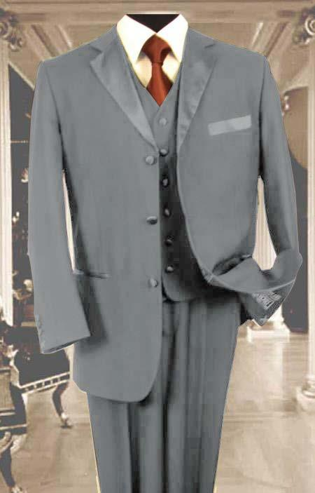 SKU#K4V3 Mens 3PC Silver Tuxedo 3 Button Super 150s Wool Extra Fine Hand Made $450