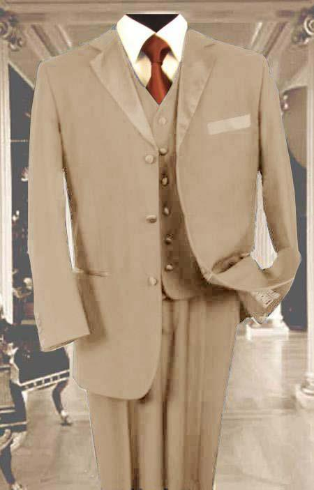 SKU#L89SX Mens 3PC Sand Tan Beige Tuxedo 3 Button Super 150s Wool Extra Fine Hand Made $450