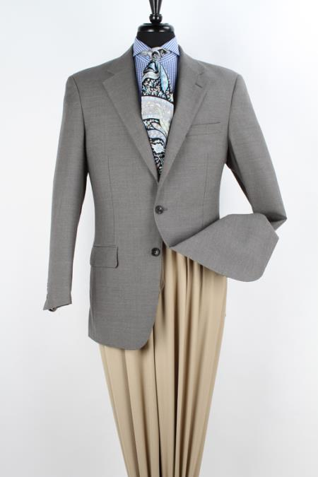SKU#9C2C Mens 100% Wool Sport Coat - Notch Lapel Greenish Grey $125
